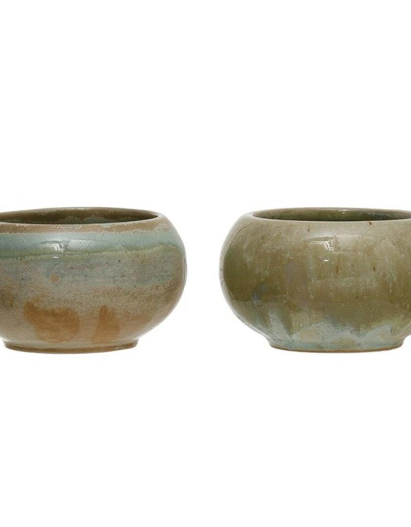 CREATIVE CO-OP Round Stoneware Bowl, Opal Reactive Glaze