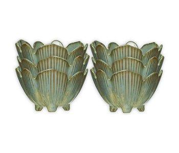 Porcelain Flower Bowl, Reactive Glaze Blue