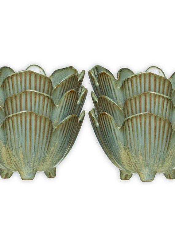 CREATIVE CO-OP Porcelain Flower Bowl, Reactive Glaze Blue