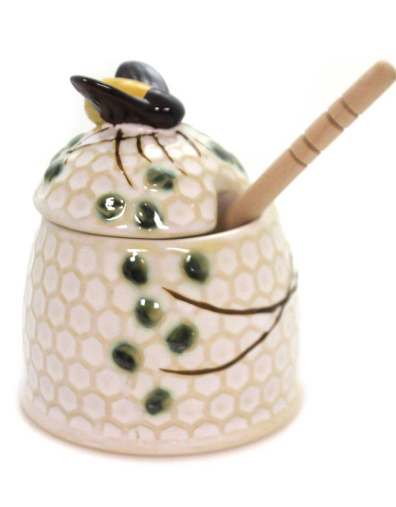"CREATIVE CO-OP Round Stoneware Honey Jar With Wood Honey Dipper, 3-1/4"""