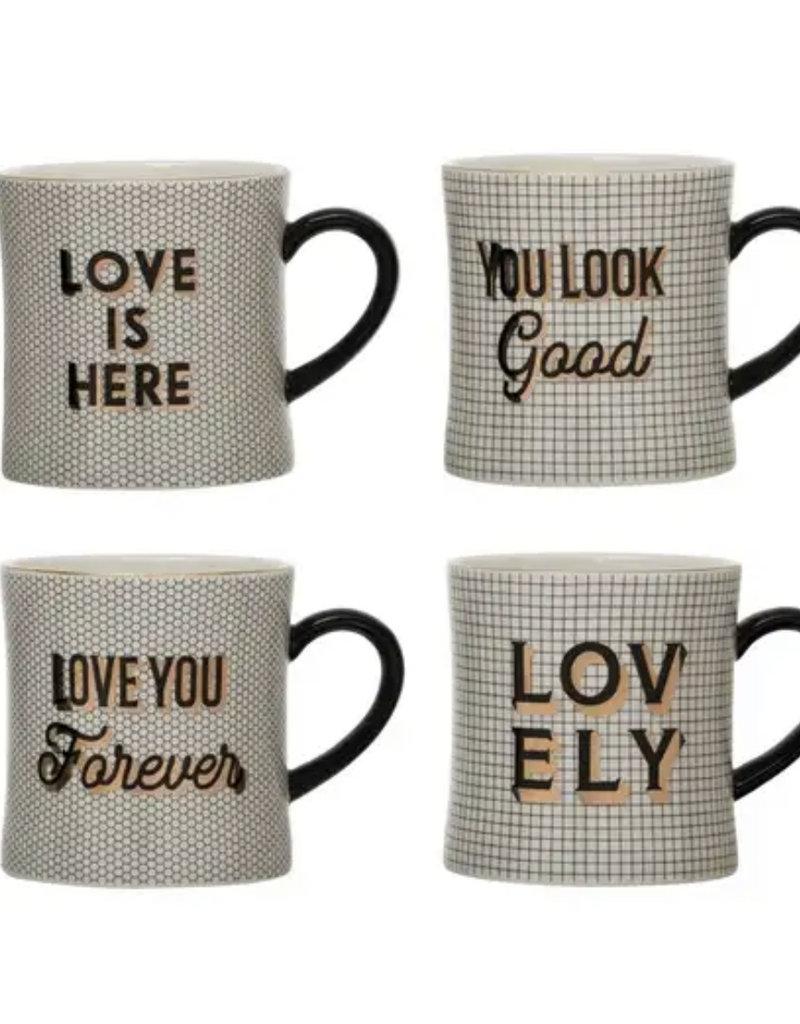 CREATIVE CO-OP Stoneware Mug With Pattern & Saying