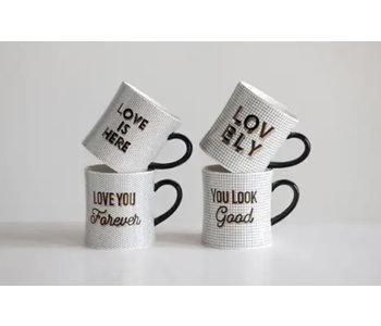 Stoneware Mug With Pattern & Saying