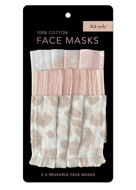 KITSCH Cotton Mask 3 pc Set - Blush