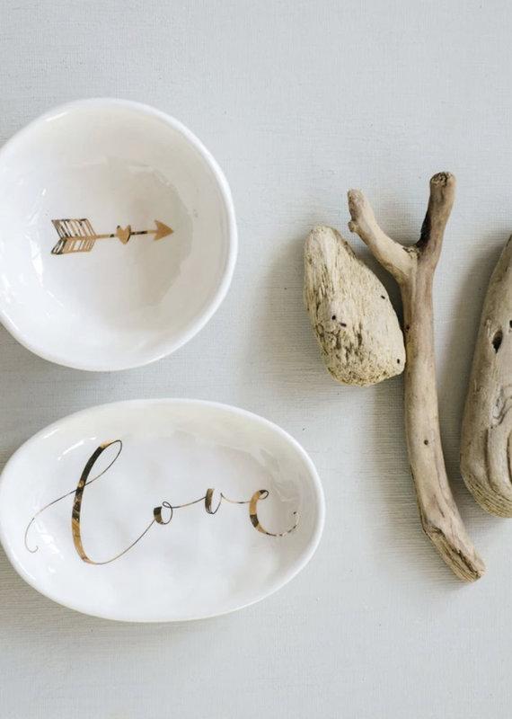 CREATIVE CO-OP Love Electroplating Ceramic Dish