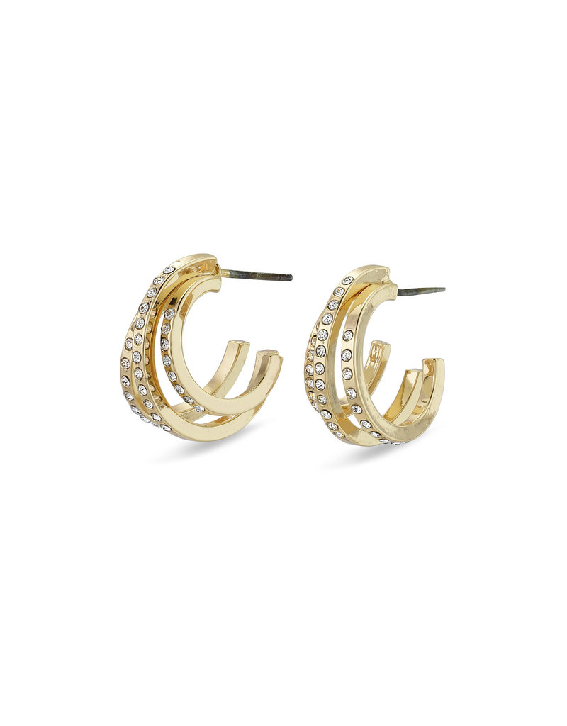 Pilgrim Tammy Crystal Hoops, Gold Plated