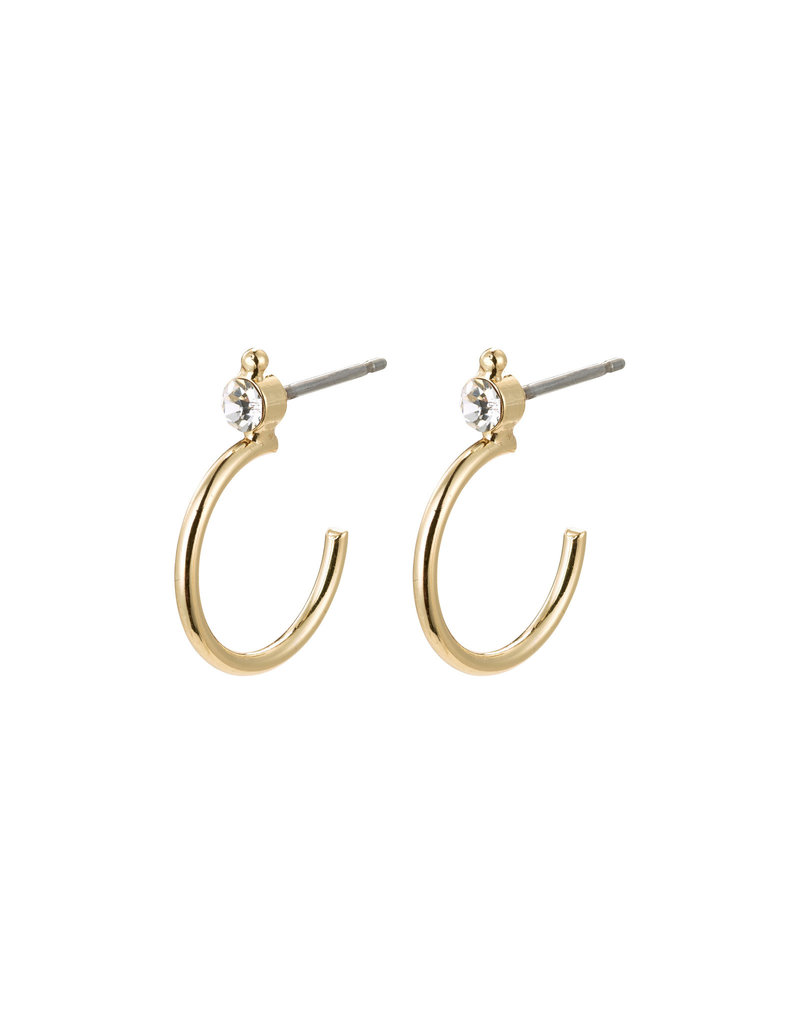 Pilgrim Gabrielle Crystal Hoops, Gold Plated