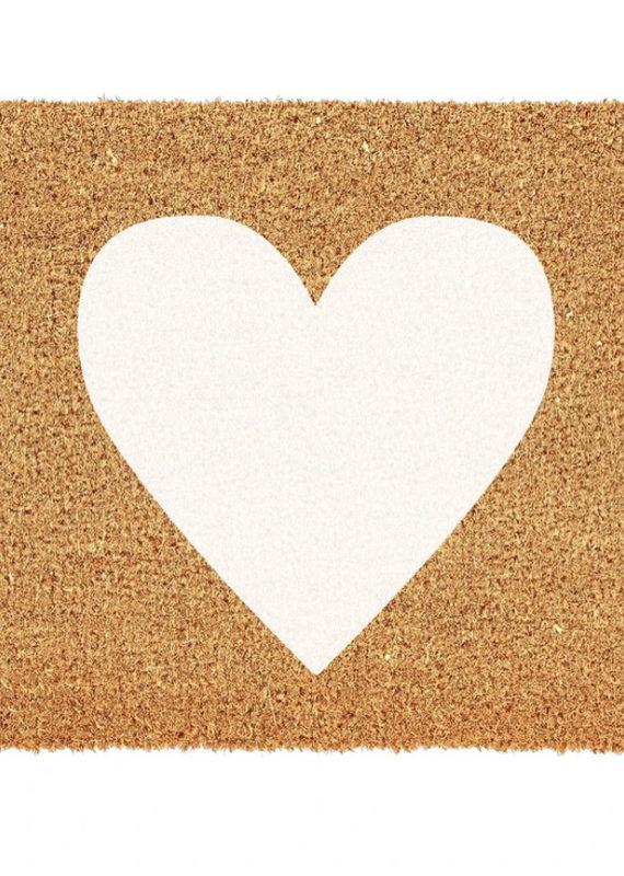 Indaba Trading Co. White Heart Doormat