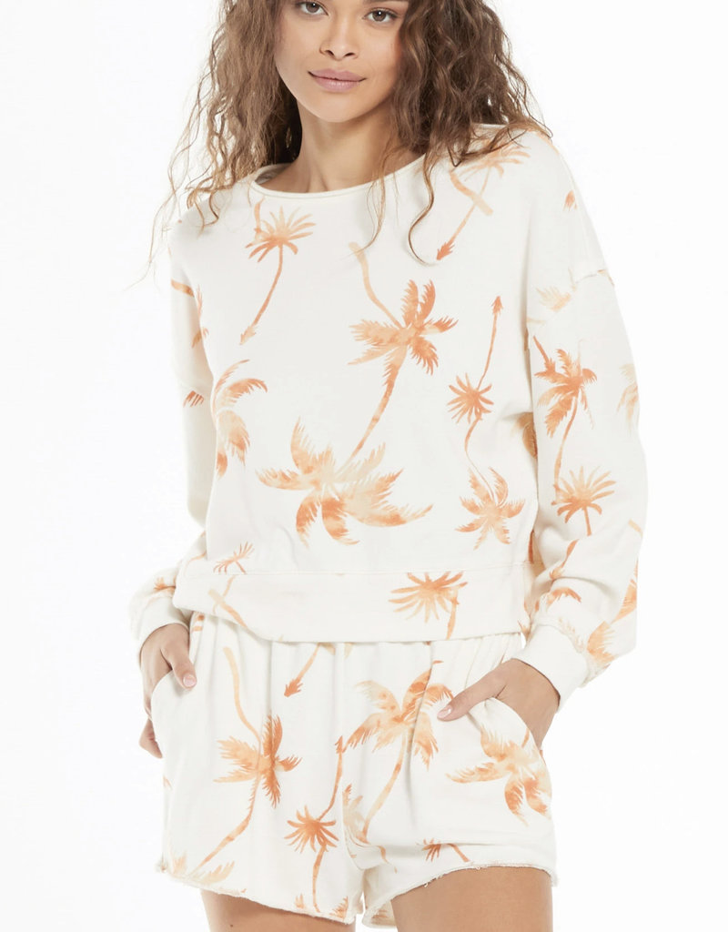 Z Supply Kai Tropical Sweatshirt, Cantaloupe