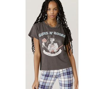 Guns N' Roses Welcome To The Jungle Reverse Girlfriend Tee, Washed Black