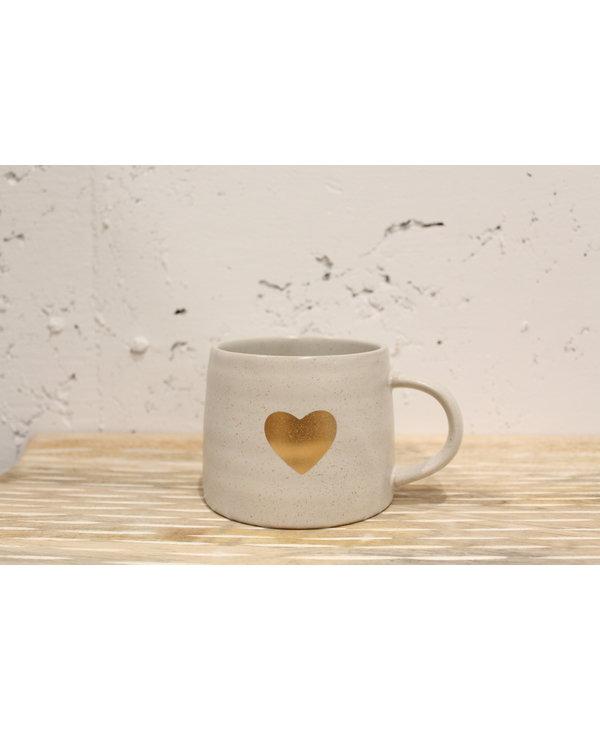 Gold Heart Mug, White
