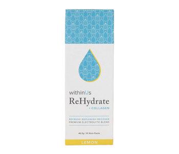 ReHydrate + TruMarine® Collagen stick pack box, Lemon -