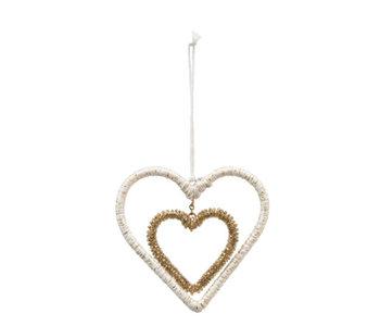 Yarn & Glass Bead Wire Heart Ornament