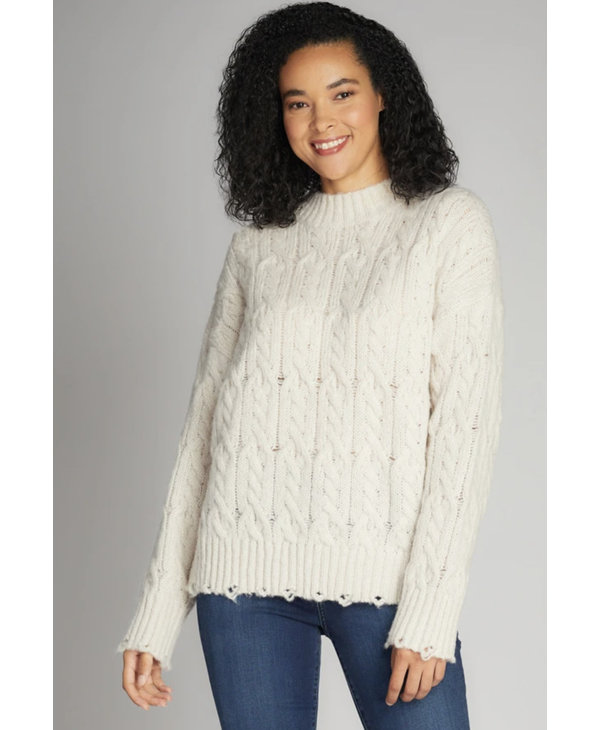 Cut Edge Mock Neck Sweater