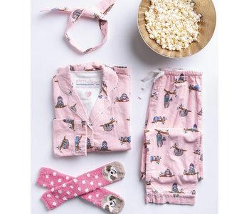Flannel PJ Set, Sloths Light Pink