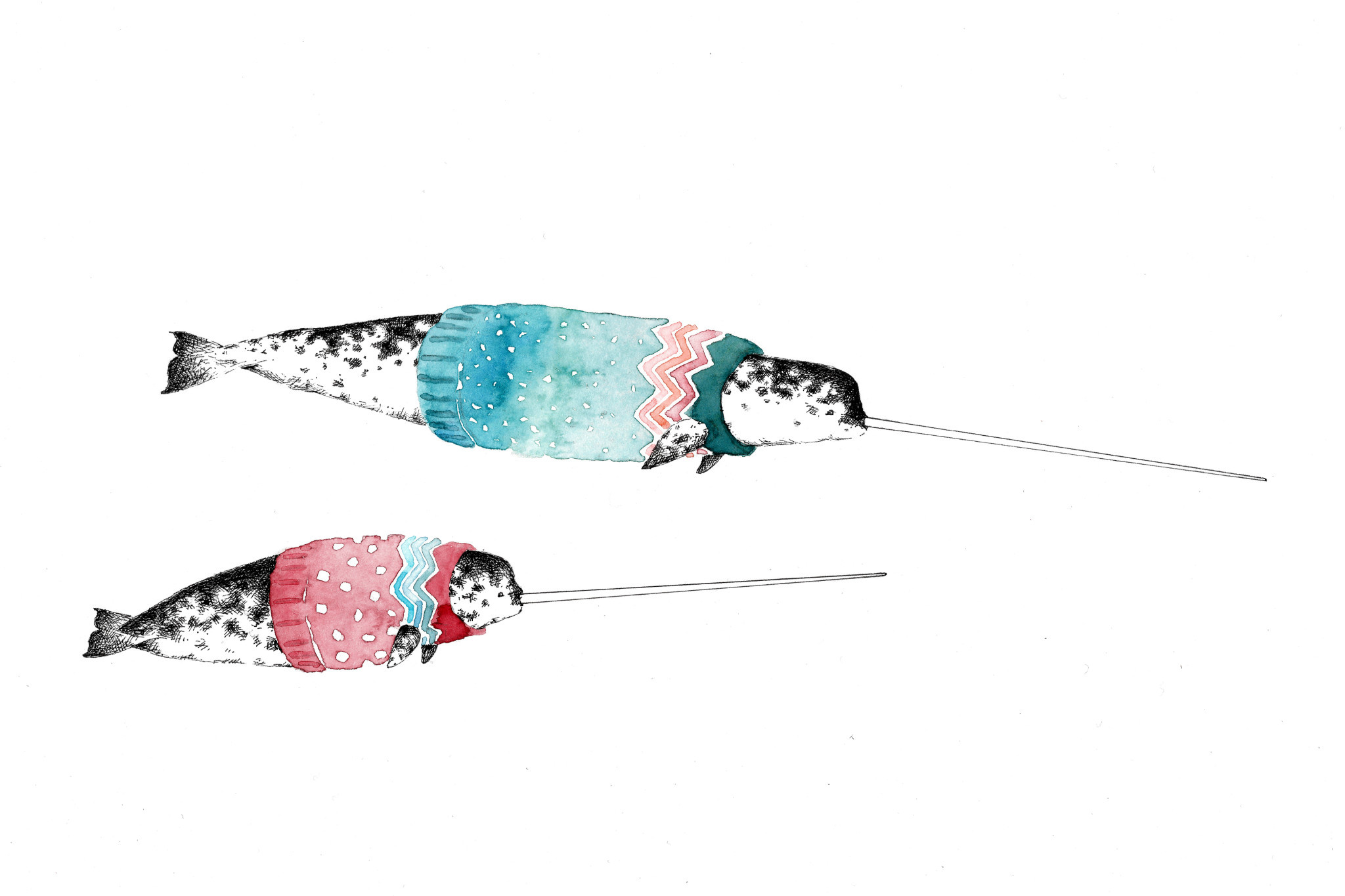 Winter Whale Art Card - Narwhals