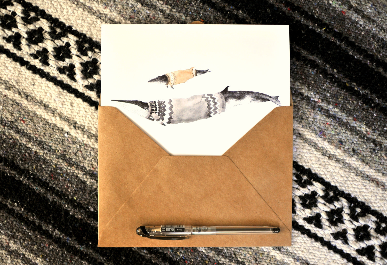 Cocoon Art Card - Minke & Fin Whales