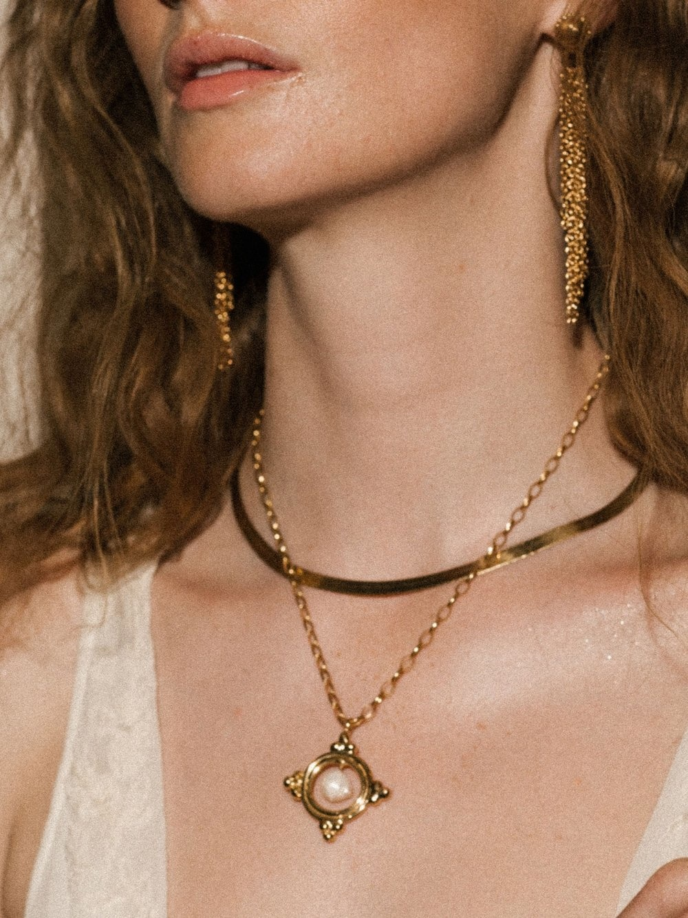 Pamela Card Necklace - Granada - 24K Gold Plated