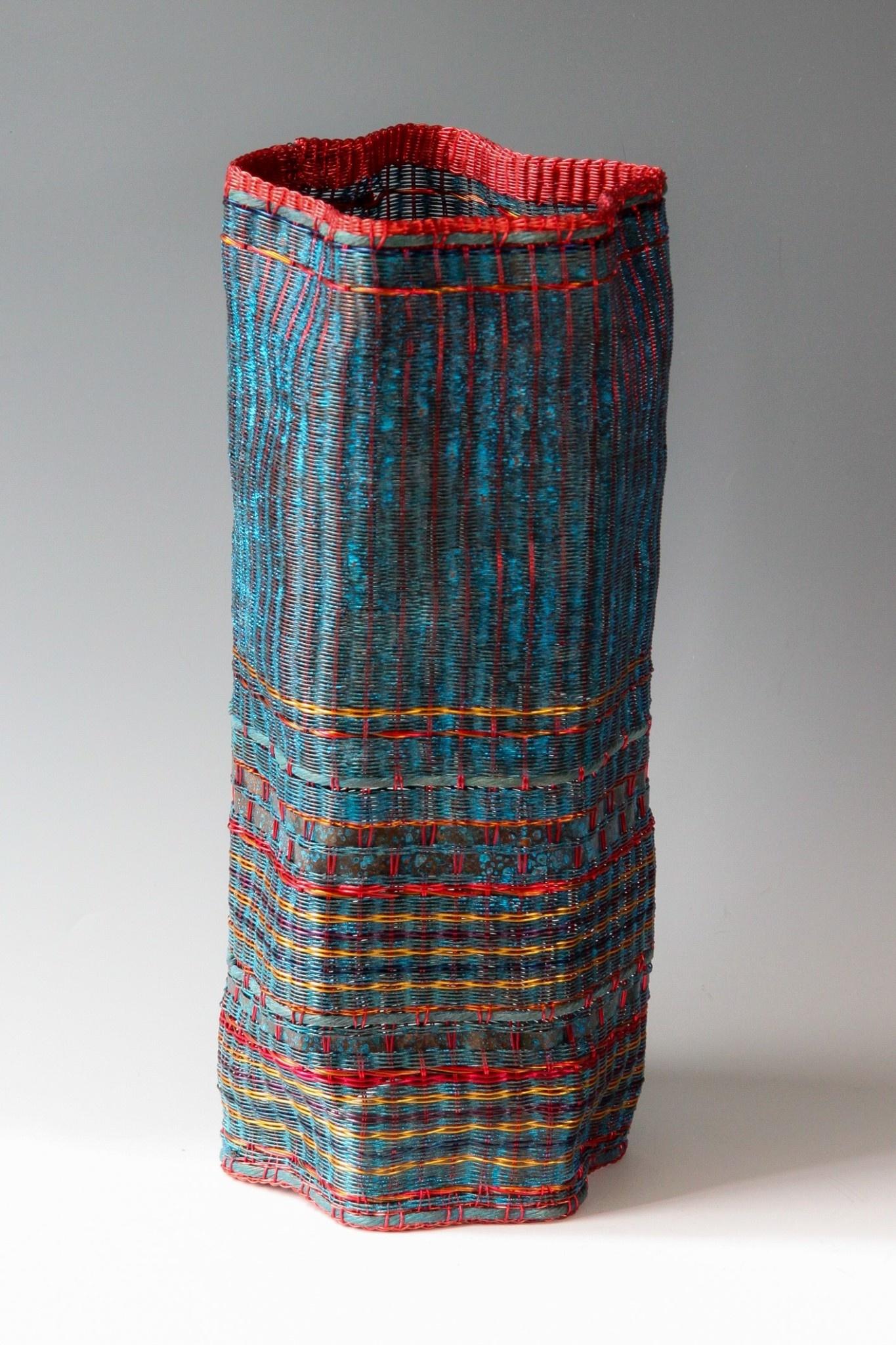 Fran Solar Pleated Copper Vessel - Blue 33x14cm
