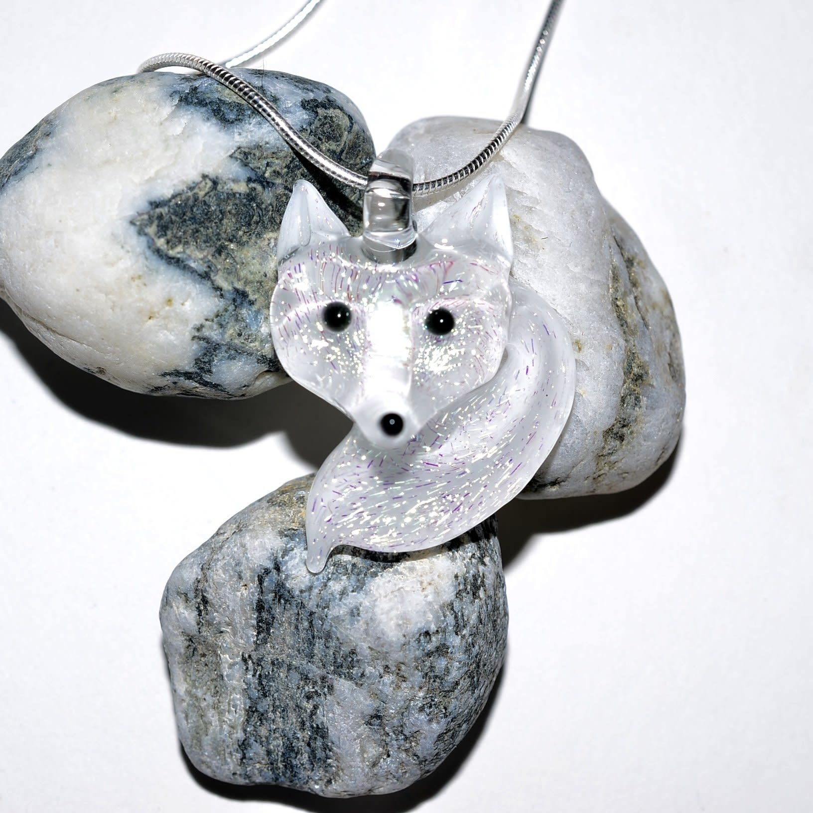 Lady Dragon Glassworks - CCBC Glass Pendant - Arctic Fox