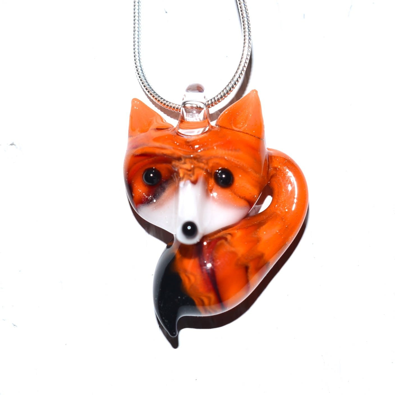 Lady Dragon Glassworks - CCBC Glass Pendant - Orange Fox