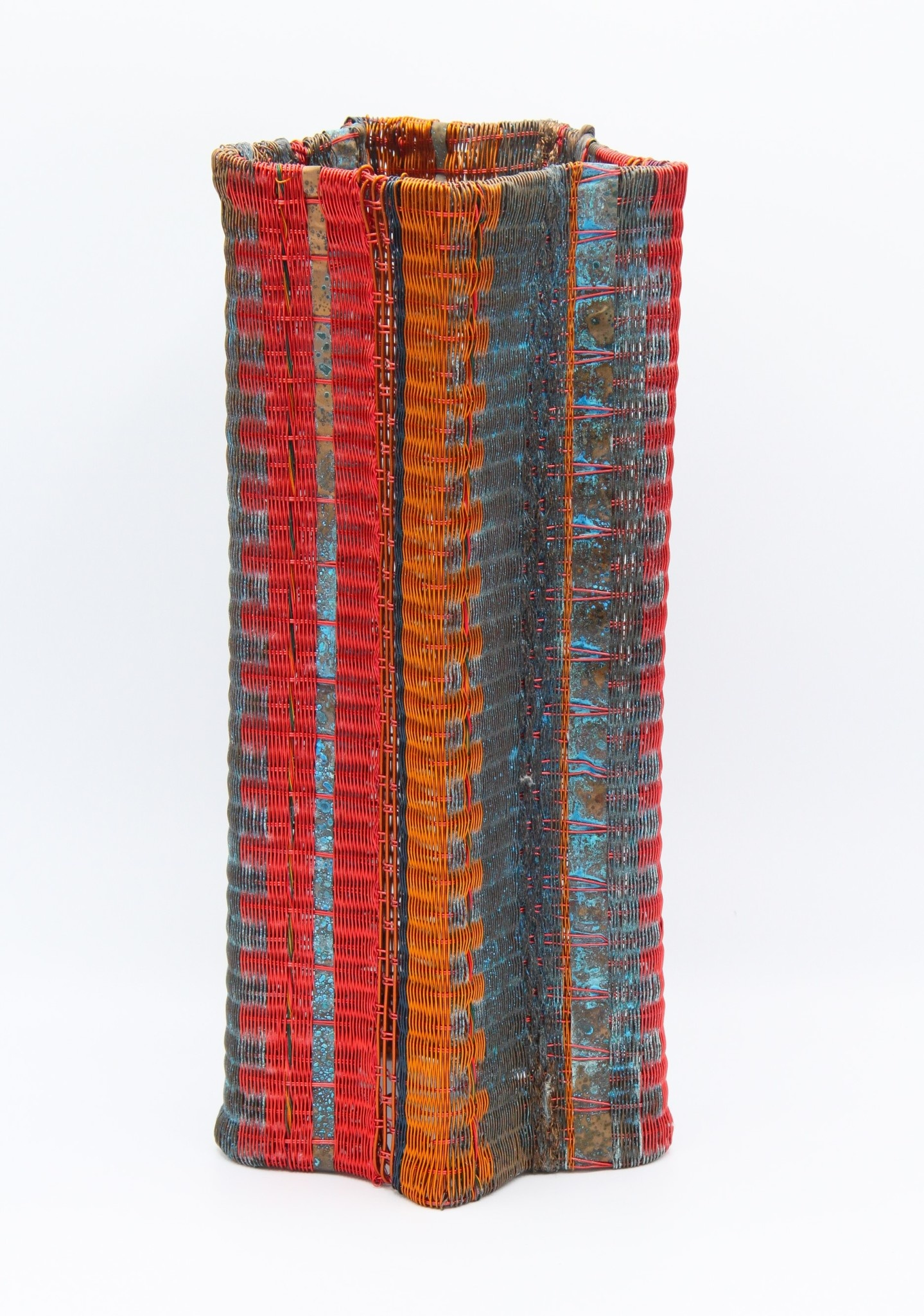 Fran Solar Pleated Copper Vessel - Blue 34x15cm