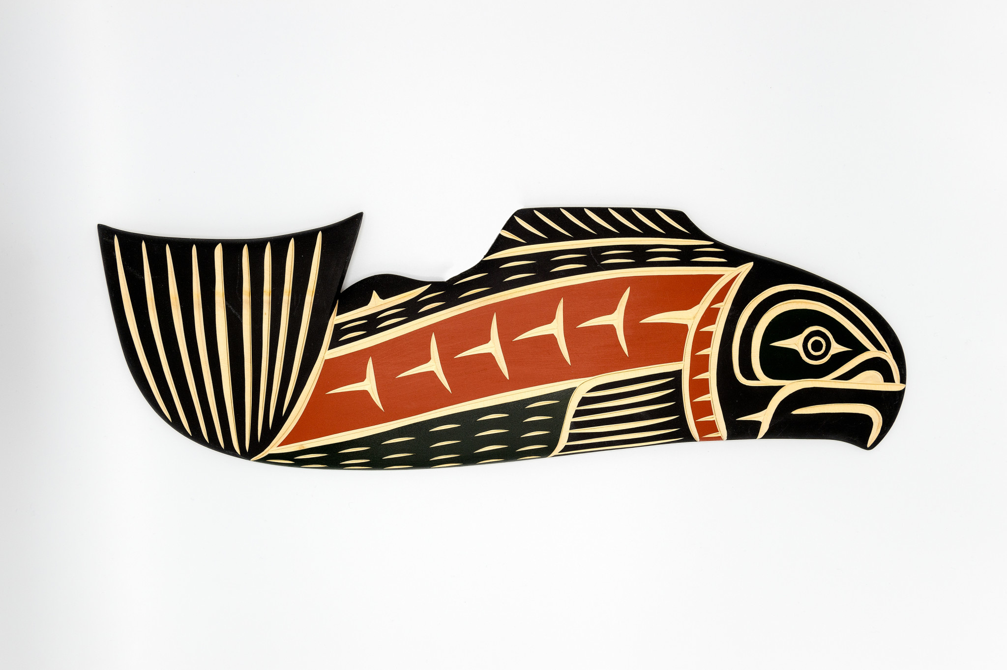 Steve Hoffmann Harvey John - Cedar Carving - Salmon - Painted