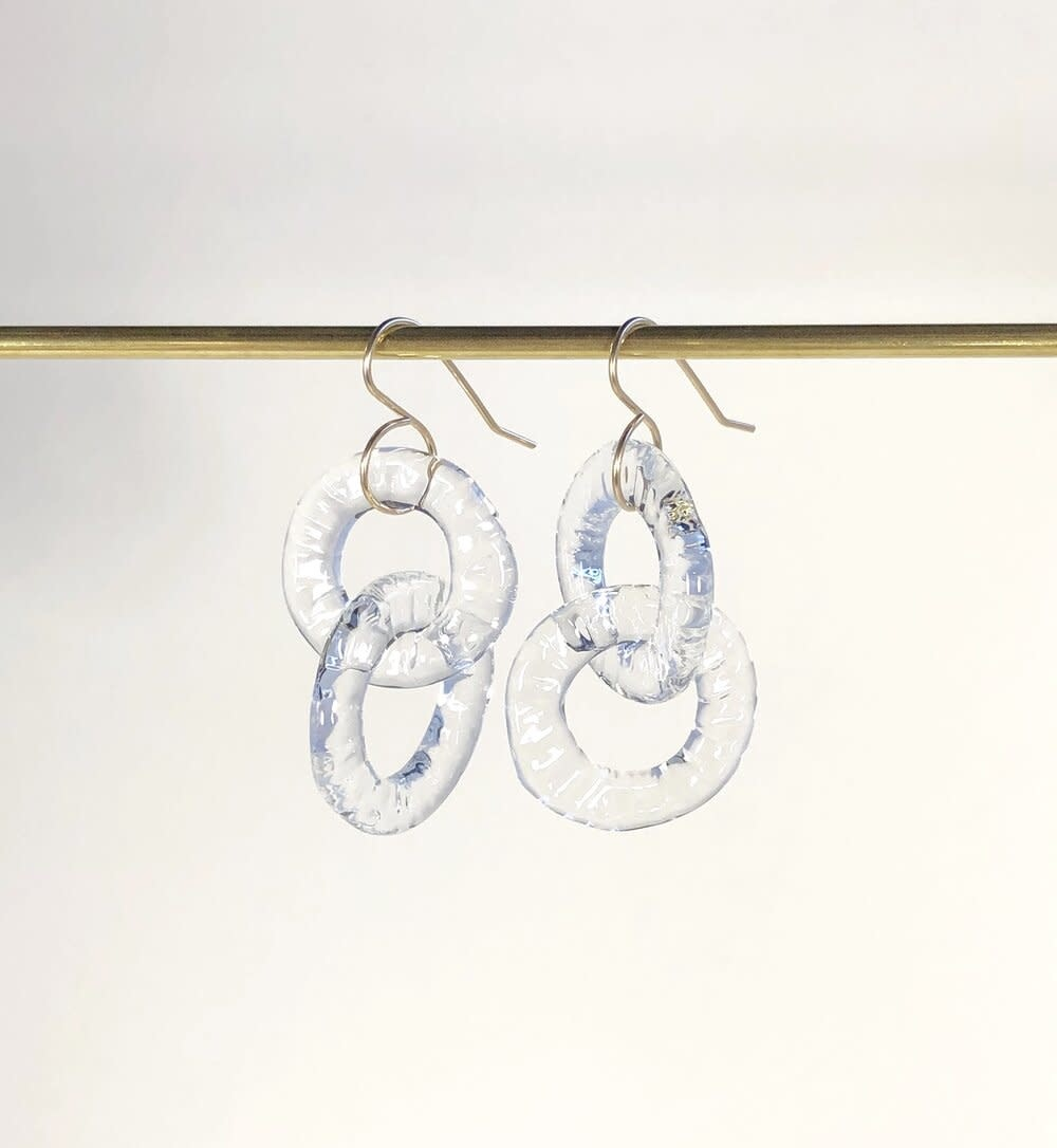 Minori Takagi Earrings - Chain Circle - Clear Glass