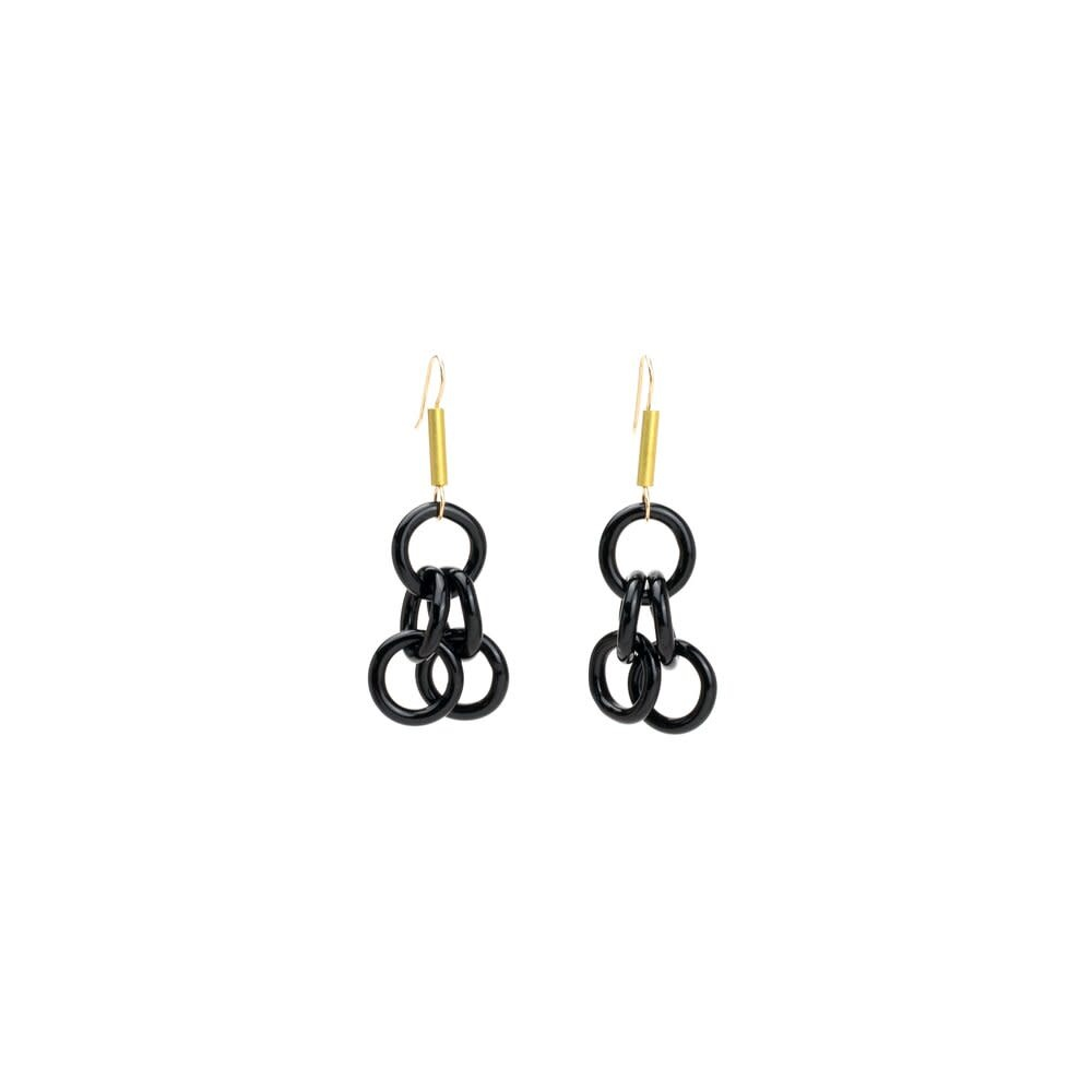 Minori Takagi Earrings - Black Chain with Brass