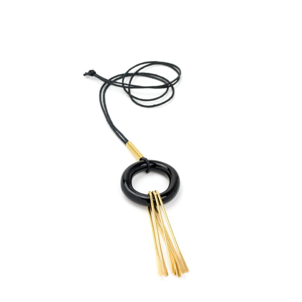 Minori Takagi Necklace - Glass Black Ring w/ Brass