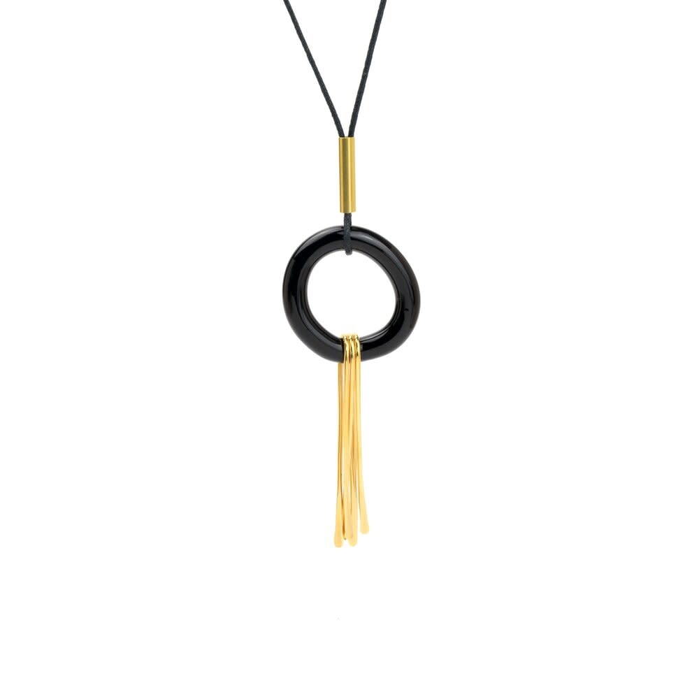 Minori Takagi Necklace - Glass Black Ring w/ Brass