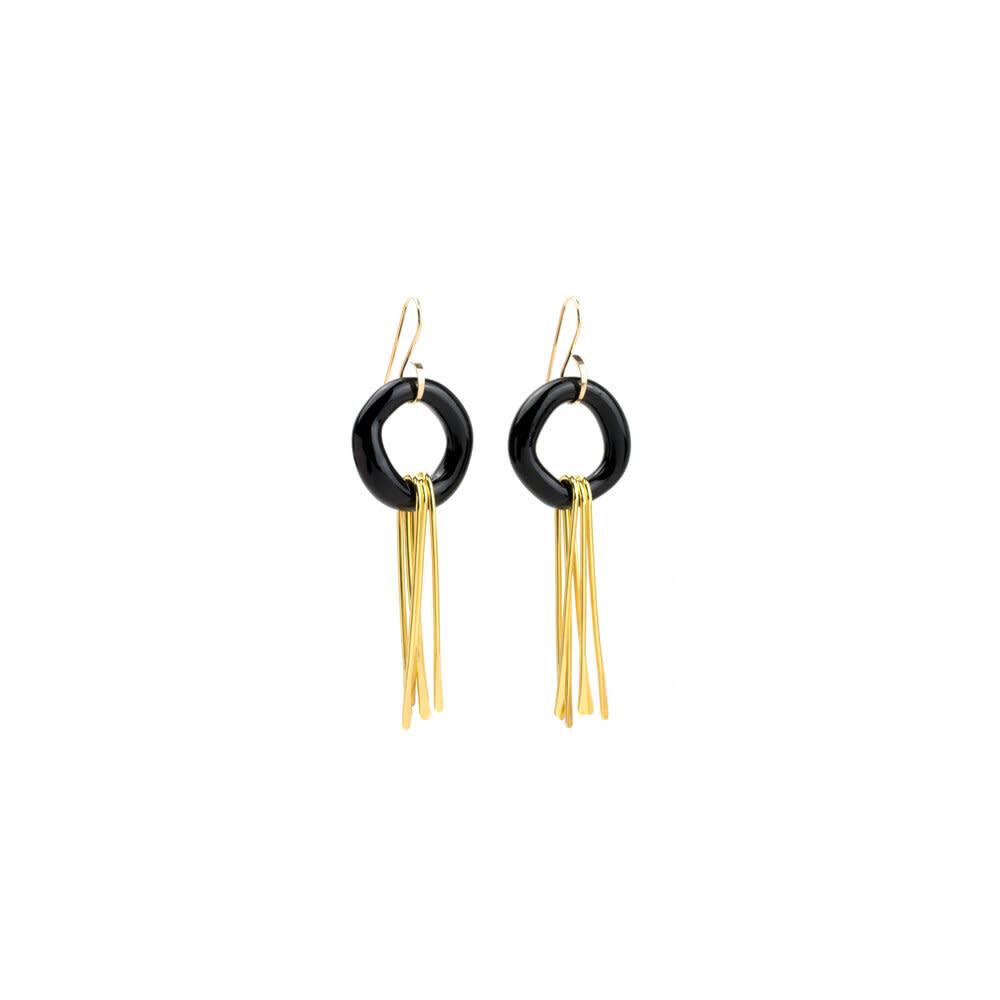 Minori Takagi Earrings - Glass Black Ring w/ Brass
