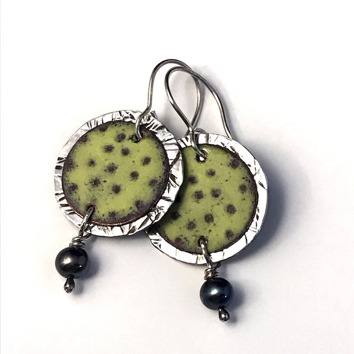 Susan Remnant Earrings - 2 Layer Disc with Green Enamel & Pearl