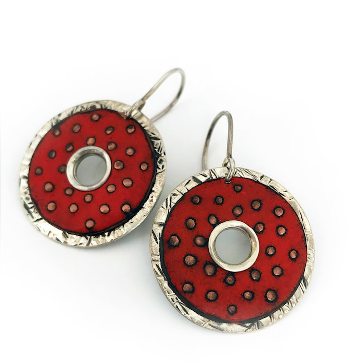 Susan Remnant Earrings - 2 Layer Donut Red Enamel