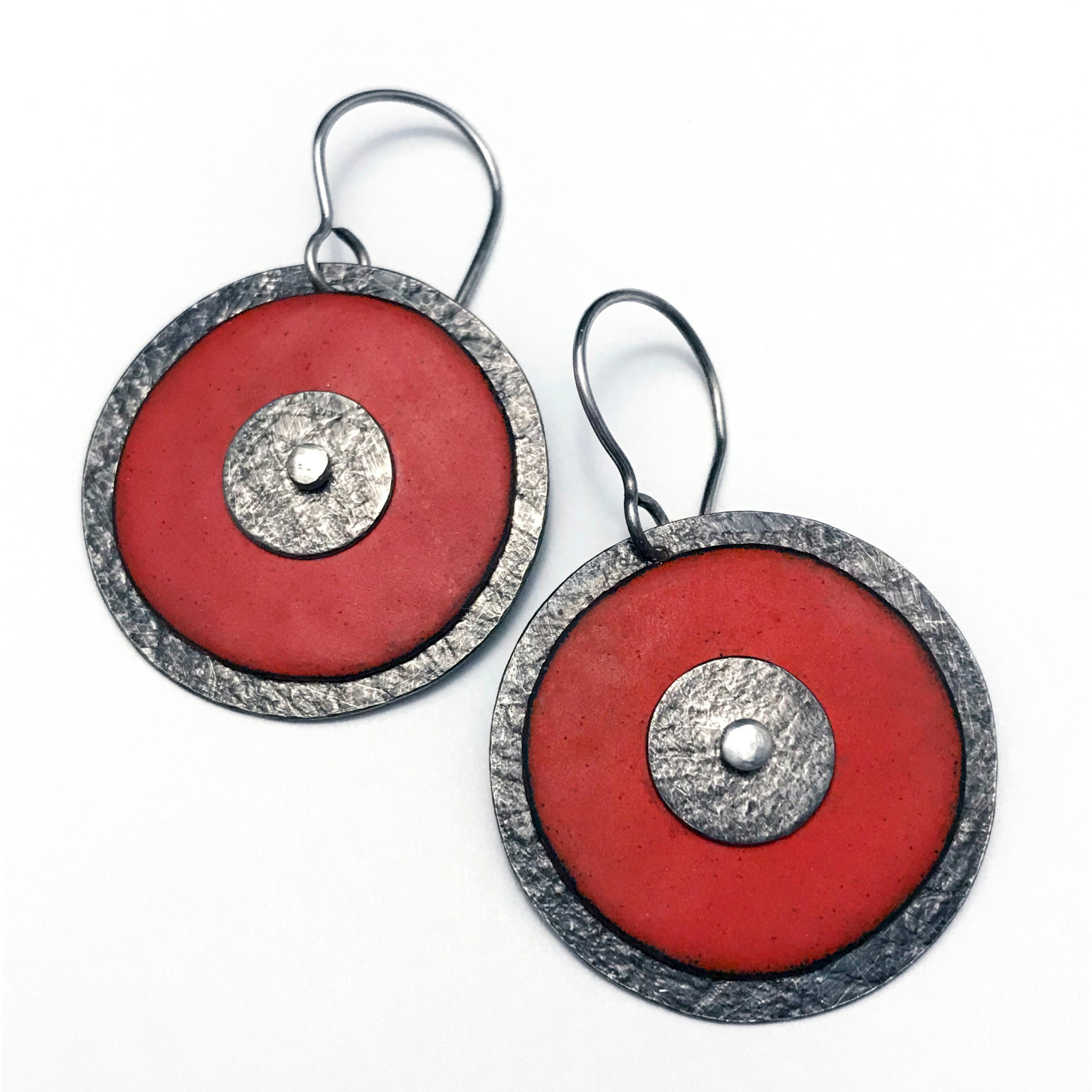 Susan Remnant Earrings - Triple Layer Disc with Red Enamel