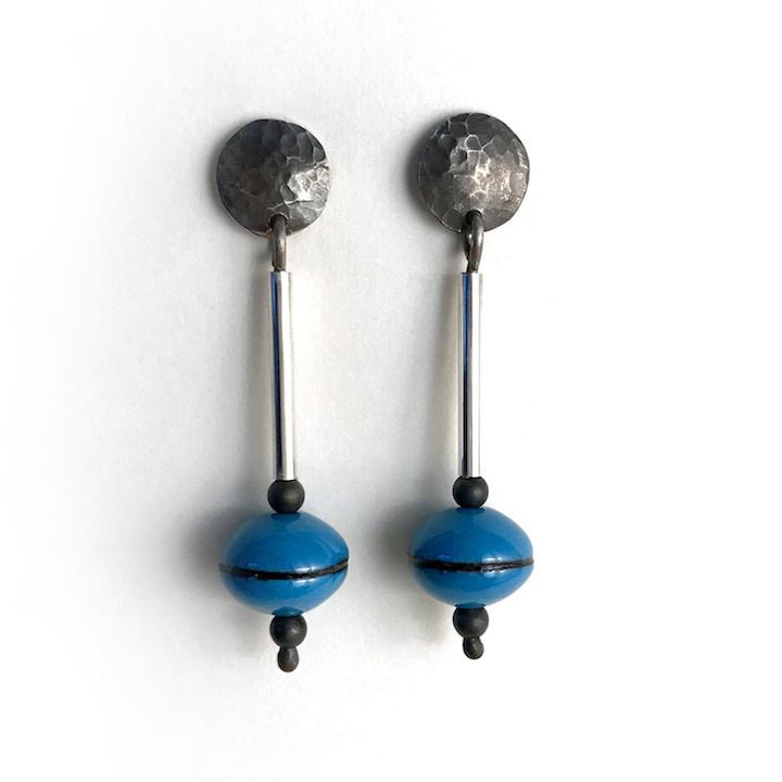 Susan Remnant Earrings - Dark Blue Bead on Silver Stem