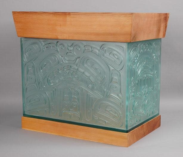 Edzerza Art Work - Alano Edzerza Sea Monster Chest - Carved Glass & Cedar