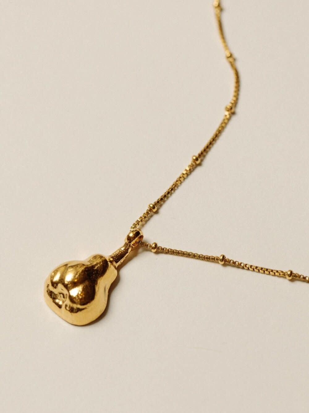 """Pamela Card Necklace - Forbidden Fruit - 24K Gold Plated - 16"""""""