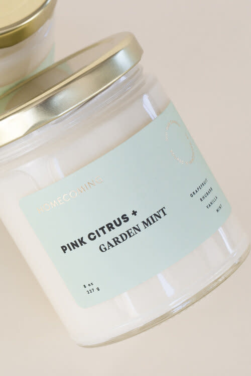 Soy Wax Candle Pink Citrus + Garden Mint