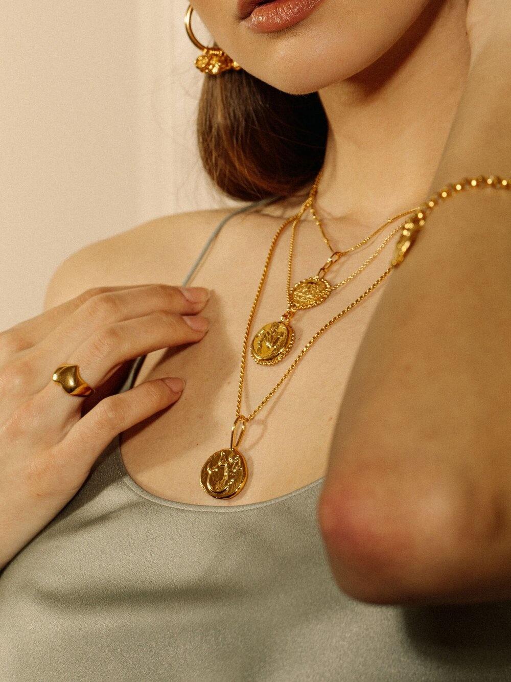 "Pamela Card Necklace - Elephant Gallant Amulet - 24K Gold Plated - 18"""
