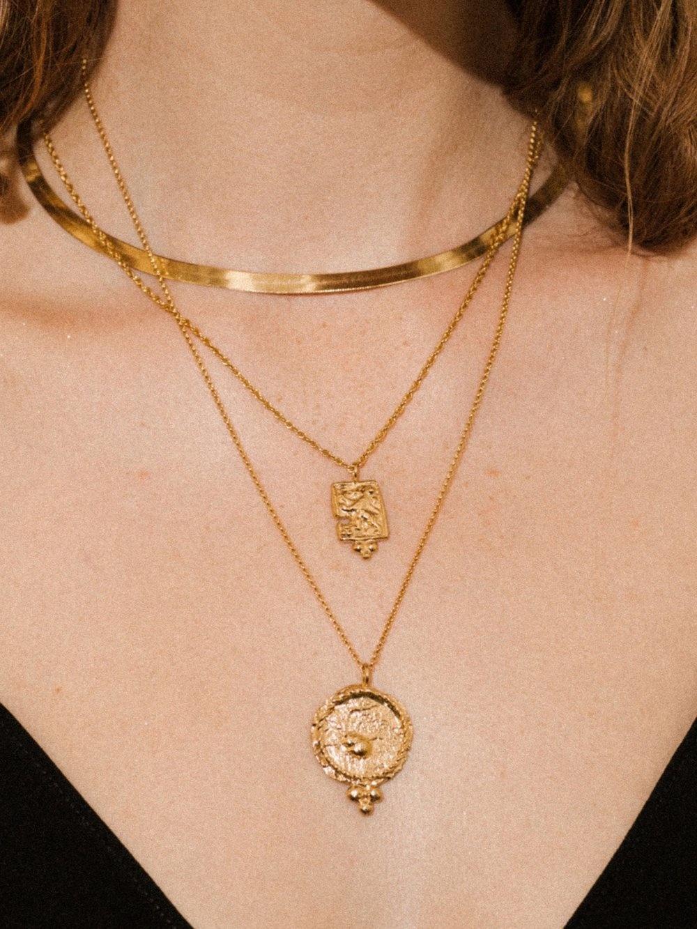 """Pamela Card Necklace - Medina - 24K Gold Plated - 22"""""""