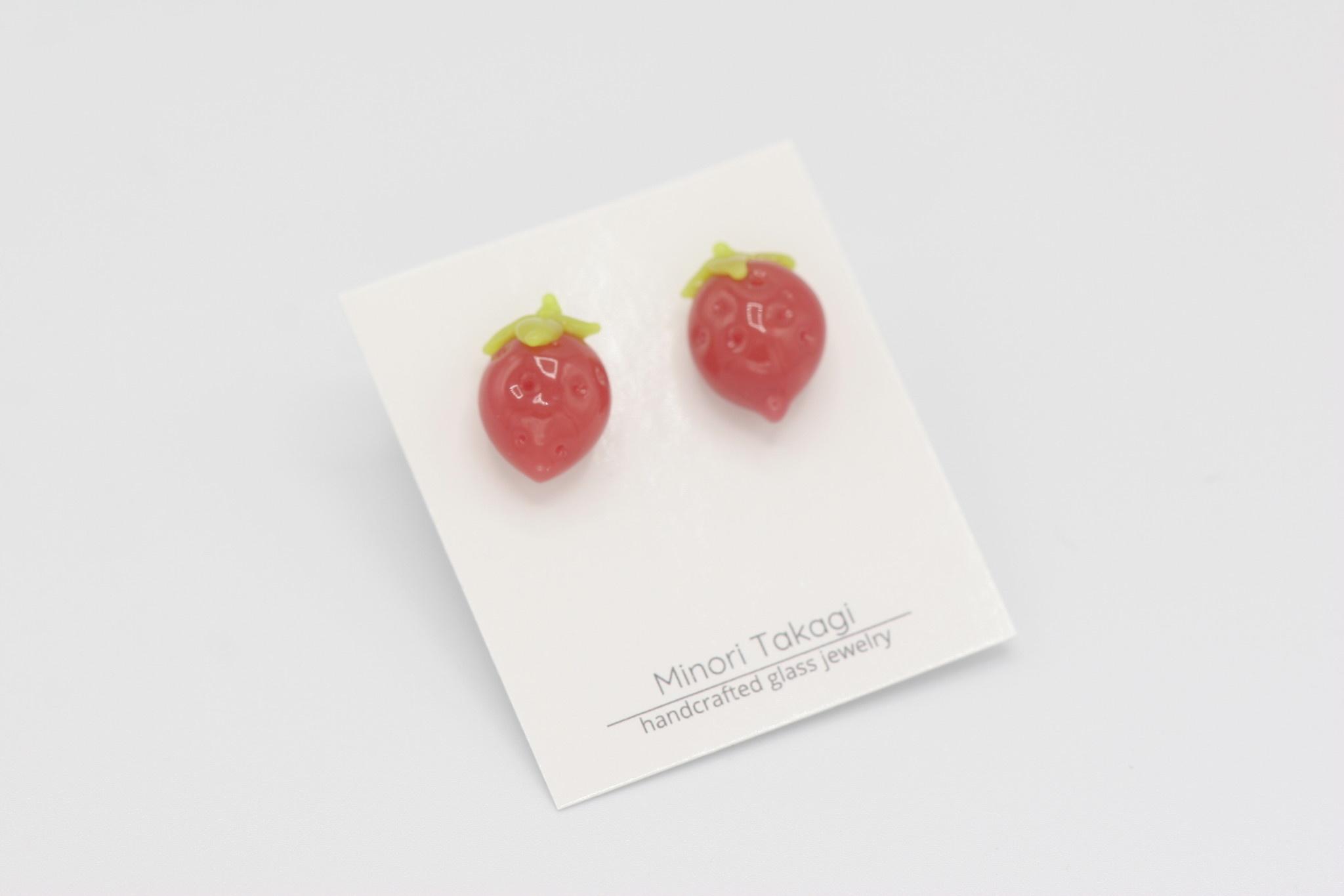 Minori Takagi Earrings - Strawberry Pink