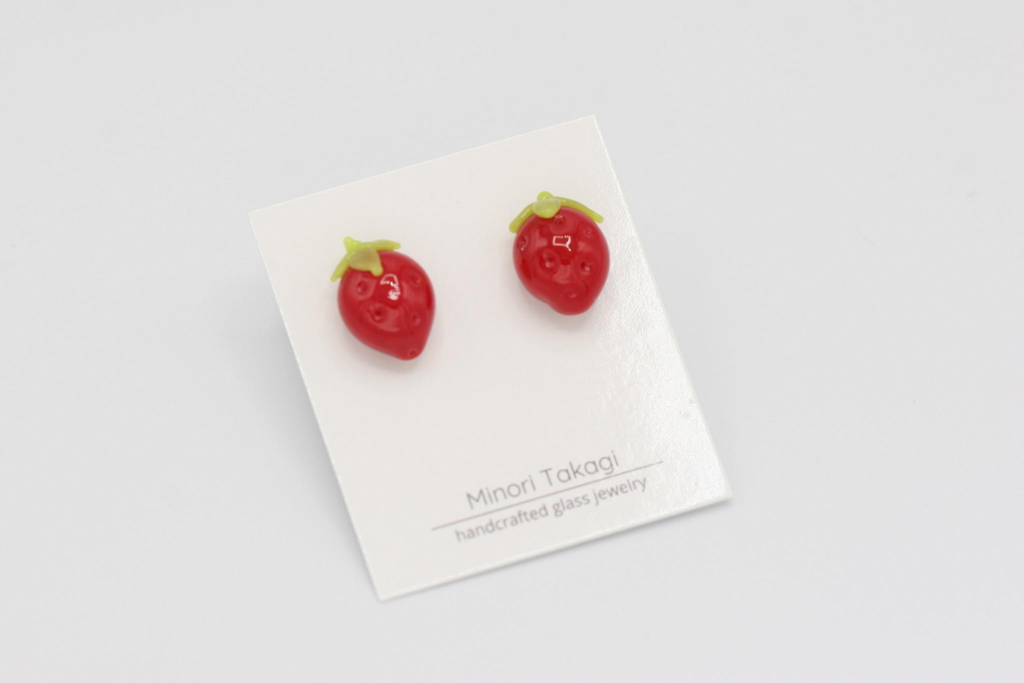 Minori Takagi Earrings- Strawberry Red