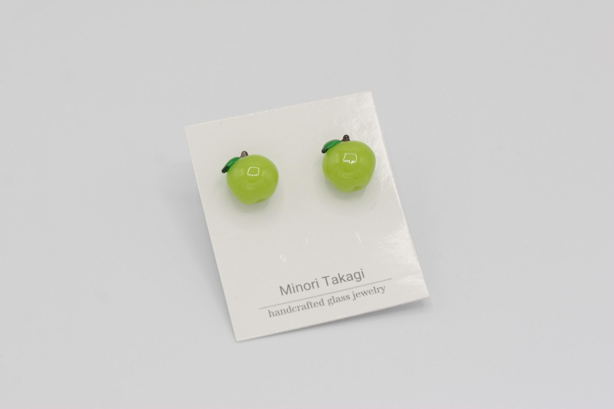 Minori Takagi Earrings - Green Apple