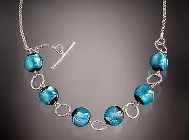 Minori Takagi Necklace - Silver Foil 2-Way - Glass & Sterling Silver