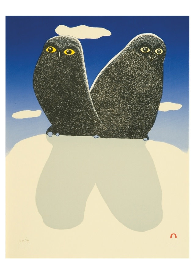 Notecard - Kananginak Pootoogook: Owls' Silhouette