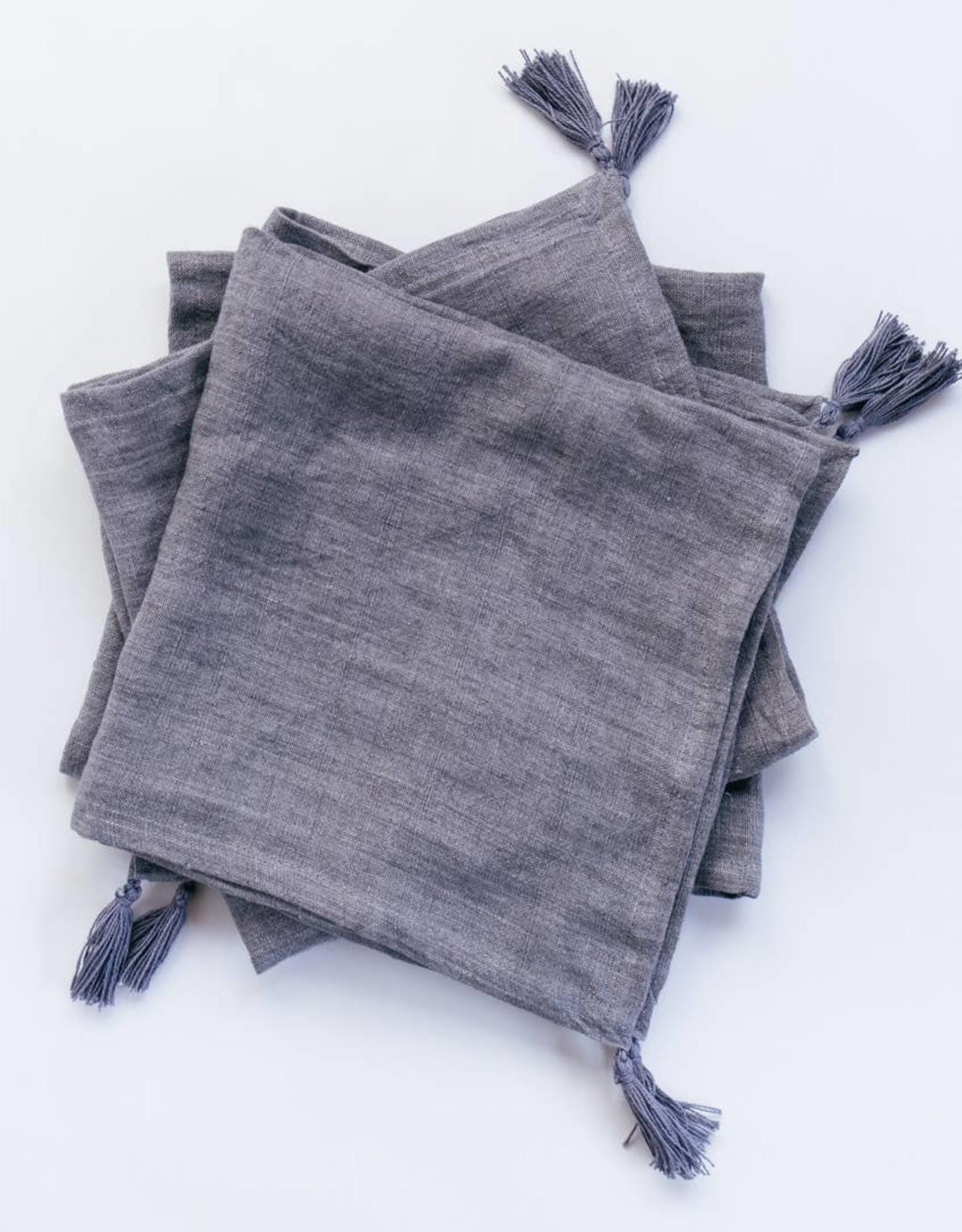 Creative Women Stone Washed Linen Tasseled Napkin