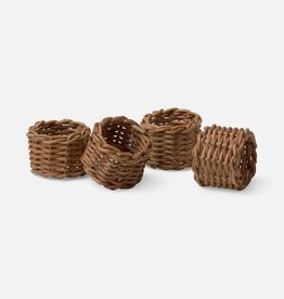 Blue Pheasant Honey Rattan Napkin Ring - Set of 4