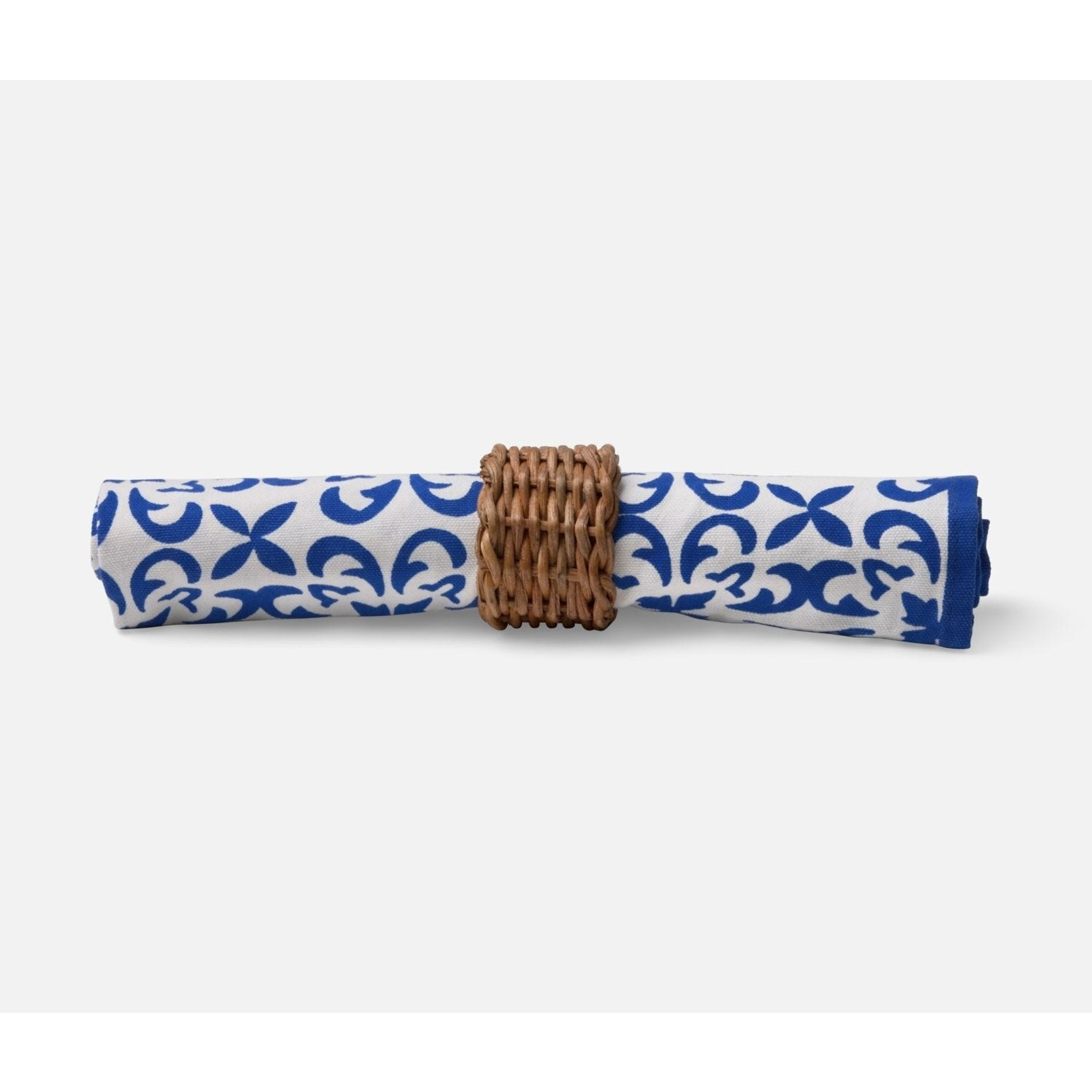 Blue Pheasant Honey Rattan Napkin Ring - Set of 4