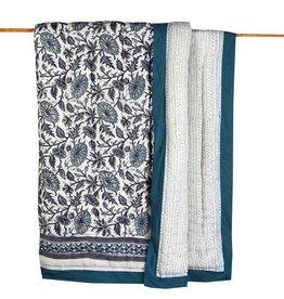 Malabar Baby Block-Printed Quilt - Queen - Provence Blue