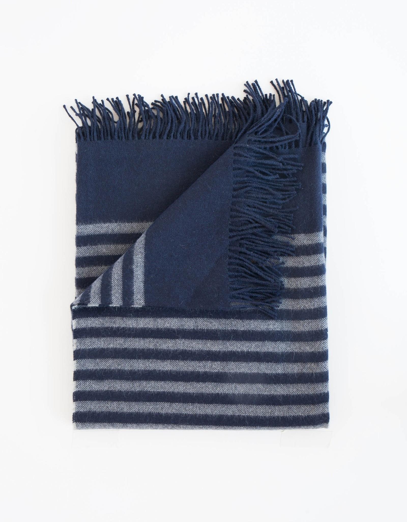 Evangeline Linens Alpaca Throw Stipe - Midnight Blue